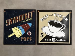 2 Retro 12x12 inch wall art - tin plaques for Sale in Sterling, VA