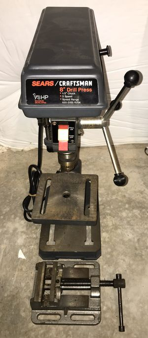 "Photo Sears craftsman 8 inch drill press 1/2"" chuck 3 speed 1/3 hp"