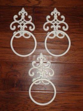 Photo Lot of 3 Ornate White Wrought Iron O Ring Hooks