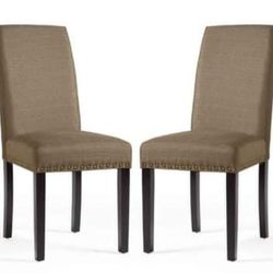 BRAND NEW DHI Nice Nail Head Upholstered Dining Chair, 2 Pack, Pebble Stone (Brown) DHIModel: DC-NC-YH96-14 Thumbnail