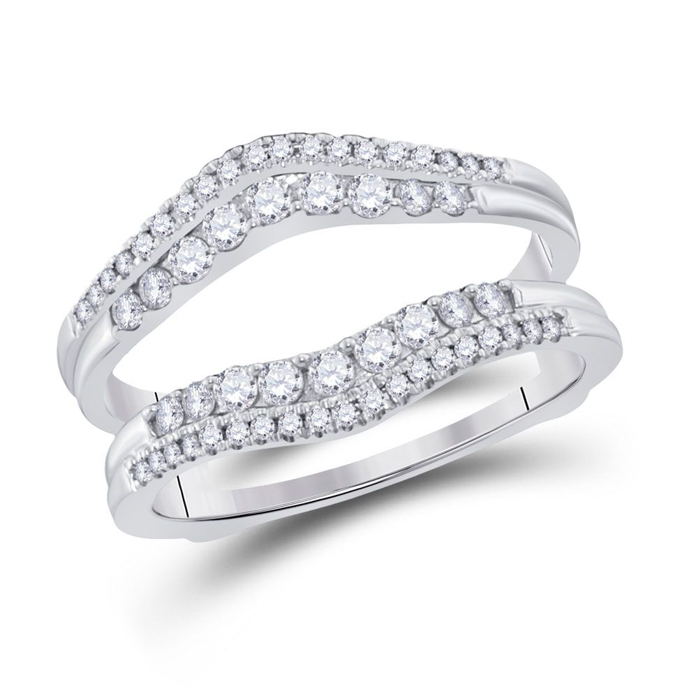 Saris and Things 14kt White Gold Womens Round Diamond Wrap Ring Guard Enhancer 1/2 Cttw