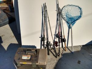 Fishing gear rods and tackle box for Sale in Chino, CA