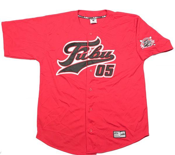 fc1a7ab535c Vintage 90s FUBU 05 Red Stitched Baseball Jersey Size XL Rap Tee Shirt Hip  Hop Bootleg MLB Supreme
