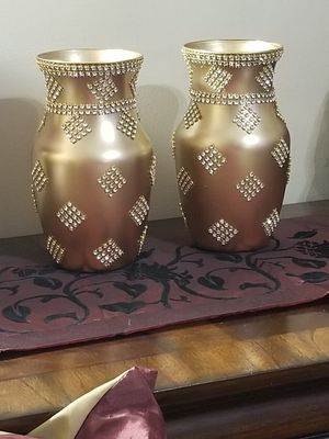 3 Piece Vase Set Golden Color With Bling Household In
