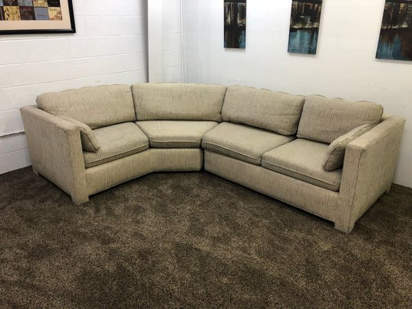 S1234 Tweed Sectional Sofa W Matching Upholstered Table For In M Or Offerup