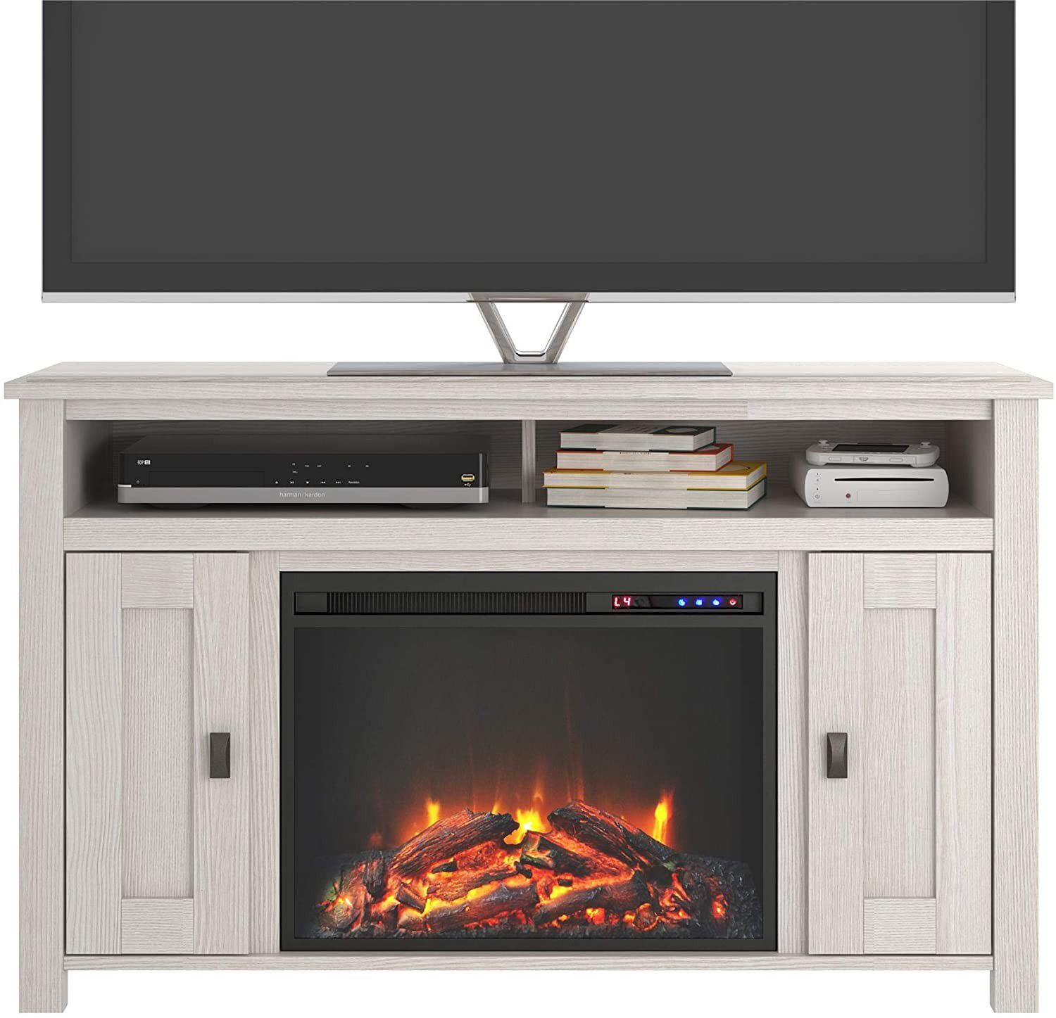 Ivory Pine Electric Fireplace TV Console up to 50 inches TV