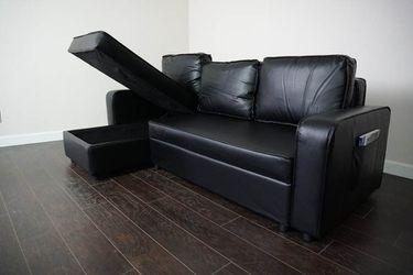 New Black / Brown Sofa Sleeper Chaise Thumbnail