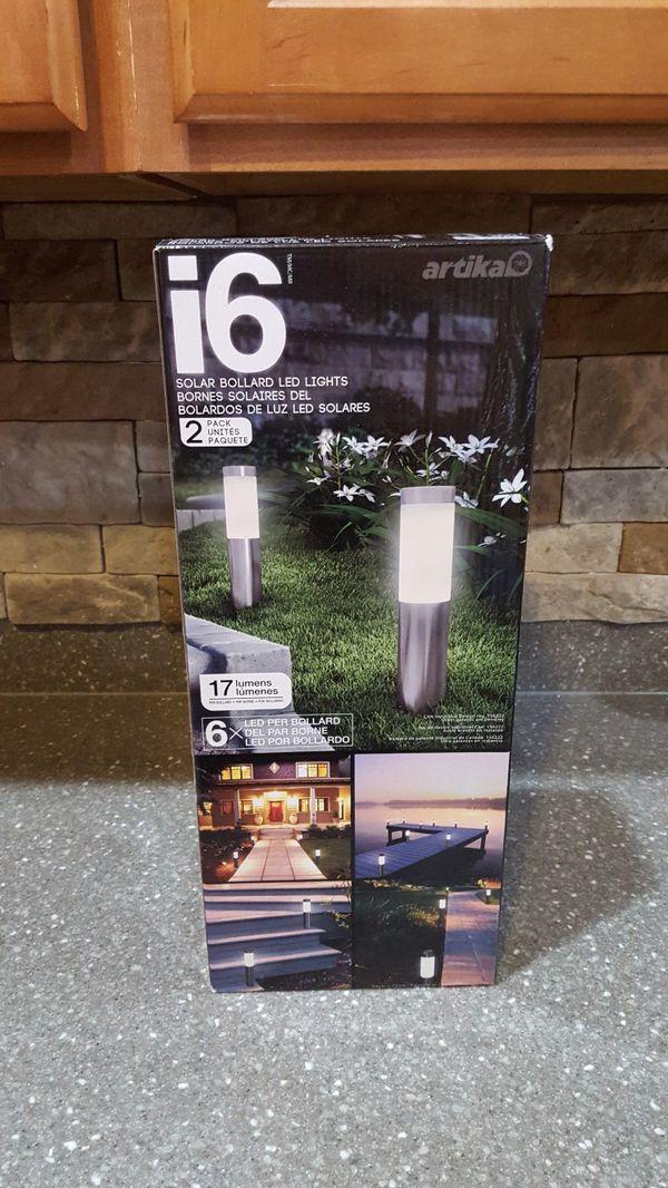 Artika I6 LED Stainless Steel Solar Bollard Lights Set of 2, 6 LED 17 Lumens Per Light