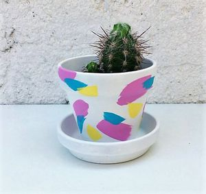 Hand painted terra-cotta planter, different colors available for Sale in Houston, TX