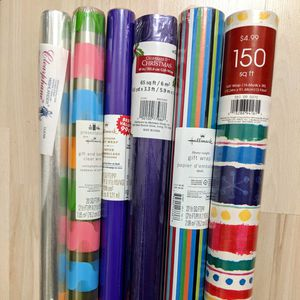 Set of 6 - 4 wrapping paper, 2 cellophane rolls for gift bags for Sale in Baltimore, MD