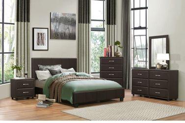 Lorenzi Brown Vinyl Platform Bedroom Set | 2220 Thumbnail