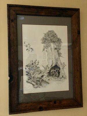 "Tim Hamilton print Pencil Etched Raccoons 42"" x 30"" for Sale in Bradenton, FL"