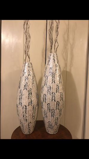 """Set of 2 large mosaic vases 35"""" & 33"""" tall with free bamboo sticks new message me if you interested up in Gaithersburg md 20877 for Sale in Gaithersburg, MD"""