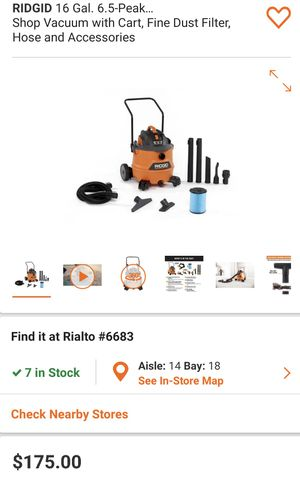 Photo RIDGID 16 Gal. 6.5-Peak HP NXT Wet/Dry Shop Vacuum with Cart, Fine Dust Filter, Hose and Accessories Retails$190 with Taxes!!!