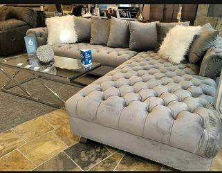 London Gray Velvet RAF Oversized Sectional / couch /Living room set Thumbnail