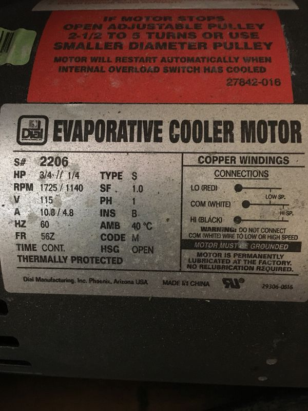 Swamp Cooler Motor 3/4 hp for Sale in Albuquerque, NM - OfferUp