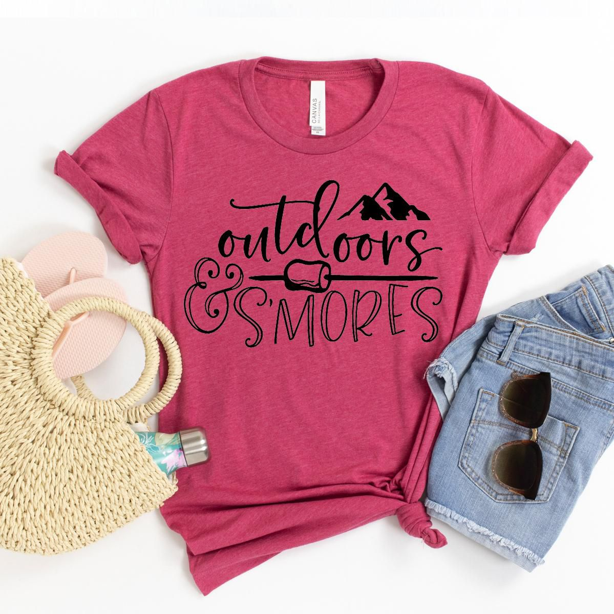 Outdoors And Smores T-shirt, Camper Tee, Wanderlust Gift, Hiking Shirt, Hike More Worry Less Tshirt, Adventure Shirts, Size X-Large
