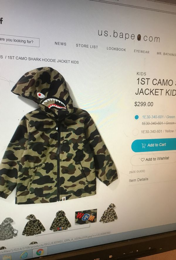 f499836e34c Bape 1st cami shark hoodie jacket for kids and size large for Sale in  Pomona, CA - OfferUp