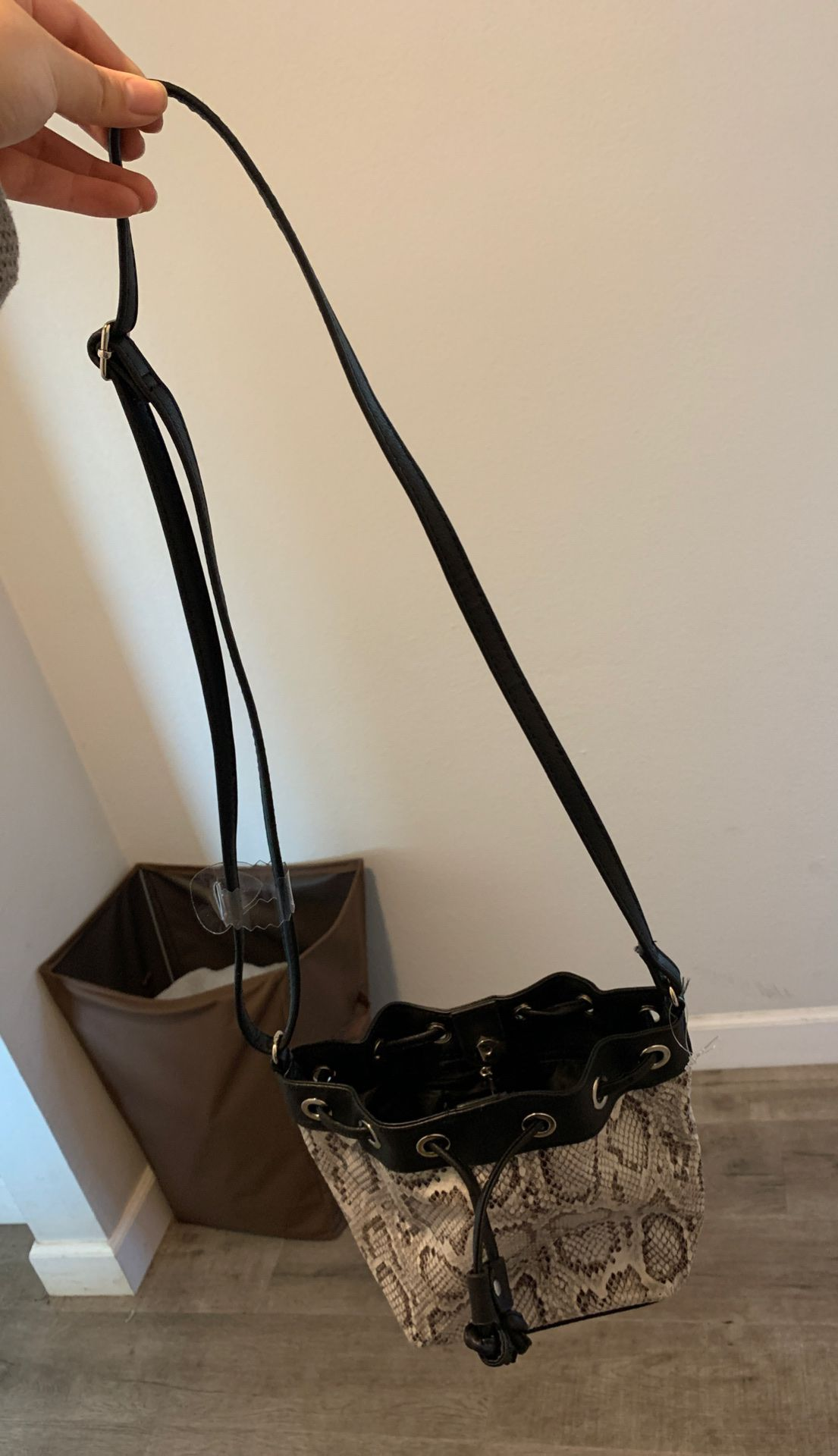 Brand new never used faux snake skin print purse