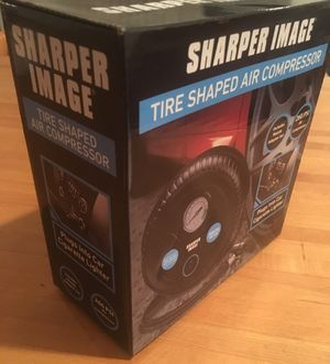 Sharper Image Tire Shaped Dc 12 Volt Compressor New 260 Psi Nozzle