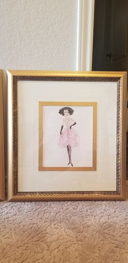 Barbie framed pictures art girls pink gold Thumbnail