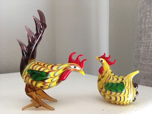 Vintage Lenox Rooster and Hen crystal figurines for Sale in San Diego, CA