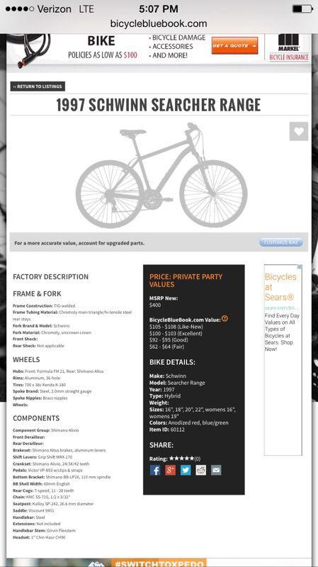 Schwinn Range Searcher On Bicycle Blue Book For Sale In Reynoldsburg
