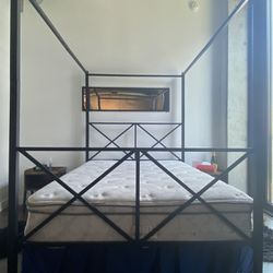 Full Size Canopy Bed and mattress  Thumbnail