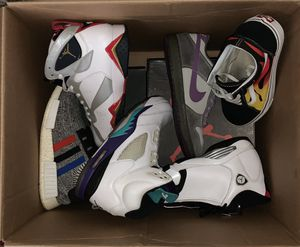 Photo Updated sneaker mystery/beater box sz's 10-11.5 9 pairs $650 open to trades for whole box or what's seen in the photo