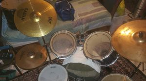 """Drum set 8 pieces, /hi-hat / 2 -cymbals, /3- stands. And other set( tom10"""" and 12""""/ floor tom17""""/ bombo 22"""" and snare )colors wine sparkles. for Sale in Kissimmee, FL"""