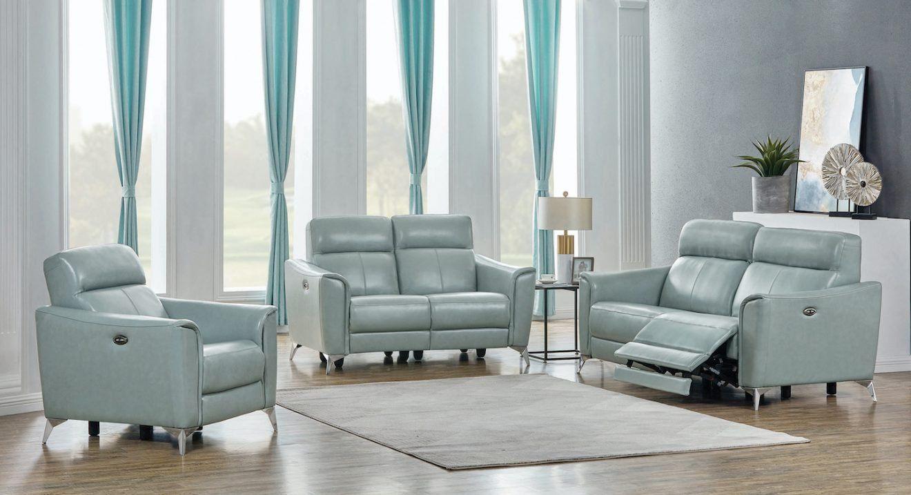 Top grain leather 3 Pc reclining sofa loveseat chair