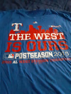 Photo Texas Rangers 2015 Western divisional championship t-shirt with Dallas skyline