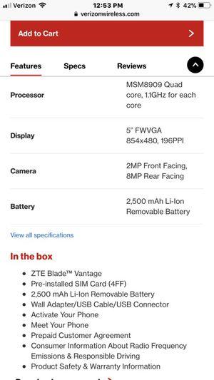 ZTE BLADE VANTAGE Z839 VERIZON PREPAID PHONE for Sale in Conroe, TX -  OfferUp