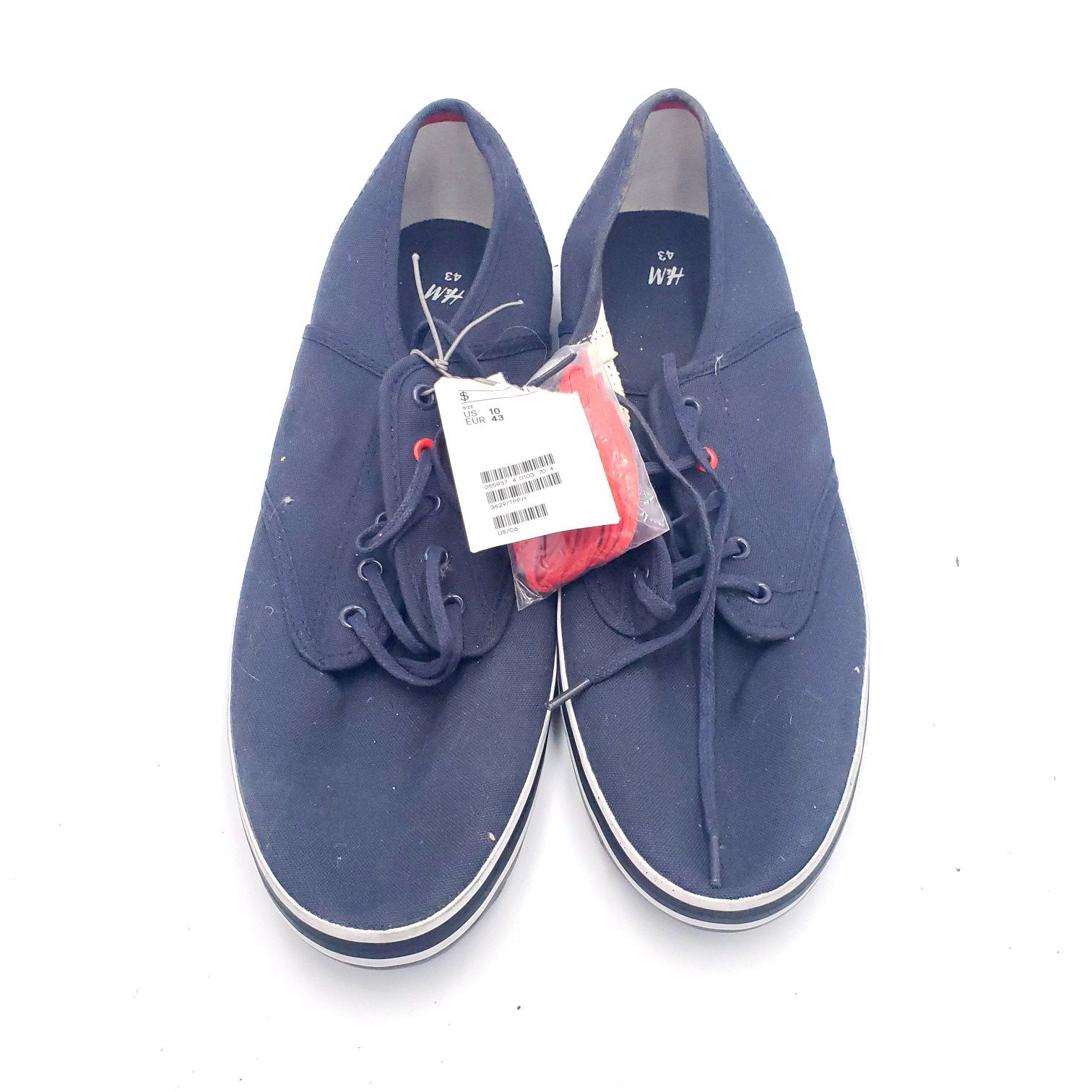 H&M Mens Sneakers Blue Canvas Lace Up 10