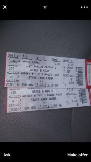 2 Drake & Migos Ticket $400 total ATLANTA November 18 2018 for Sale in Atlanta, GA