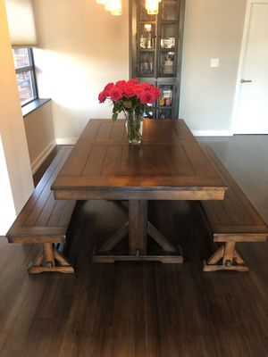 Dining table with two benches for Sale in Washington, DC