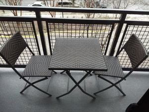 Patio Steel Folding Bistro Set, All Weather Resistant Resin Wicker, 3 PCS Set of Foldable Table and Chairs, Color Espresso Brown for Sale in Washington, DC