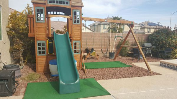 Cedar Summit Wood Swing Set With Slide From Costco For Sale In