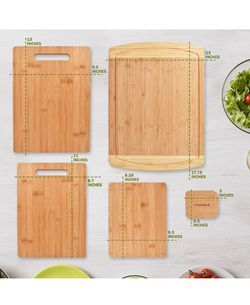 Premium Bamboo Cutting Board [5 Piece Set] With A Bamboo Pan & Board Scraper - Natural Wood Non-Slip Kitchen Chopping Board With Juice Groove & Handle Thumbnail