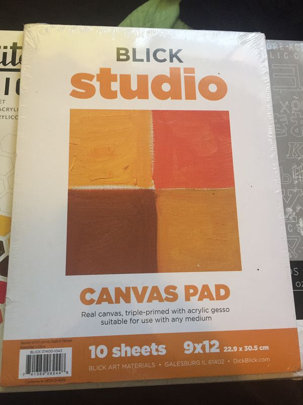 liquitex acrylic paint and blick 10 sheet canvas pad for sale in