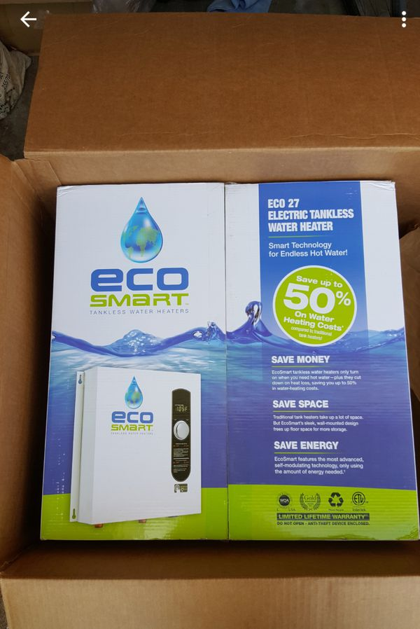 $400-brand new-ecosmart eco 27 electric tankless water heater for