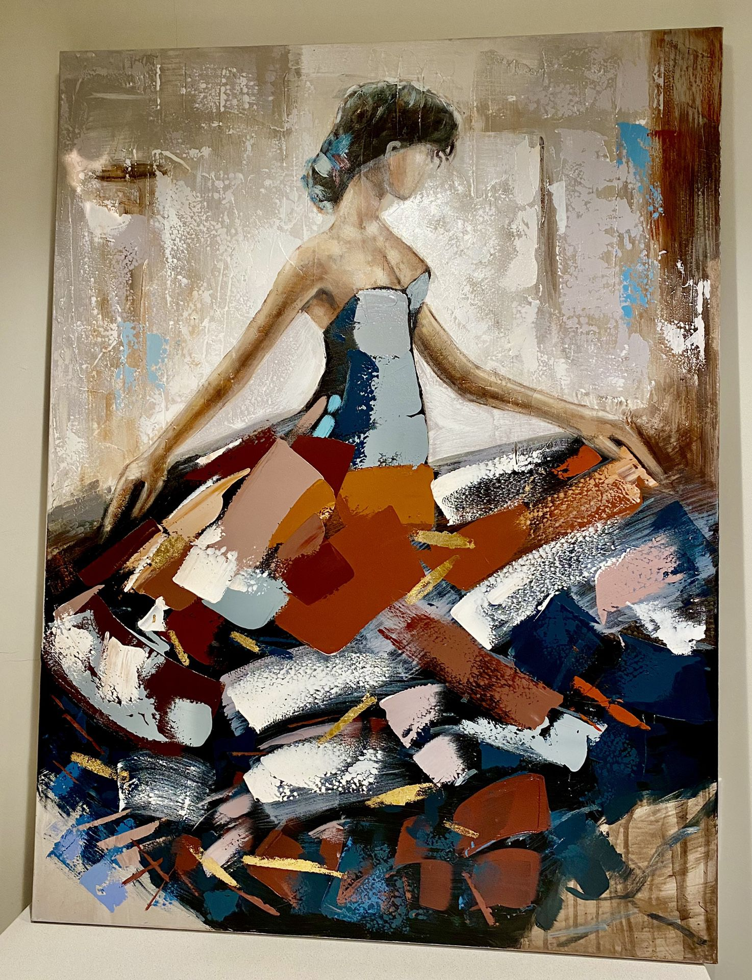 """Wall art painting on canvas girl with ballgown 47""""x35"""""""