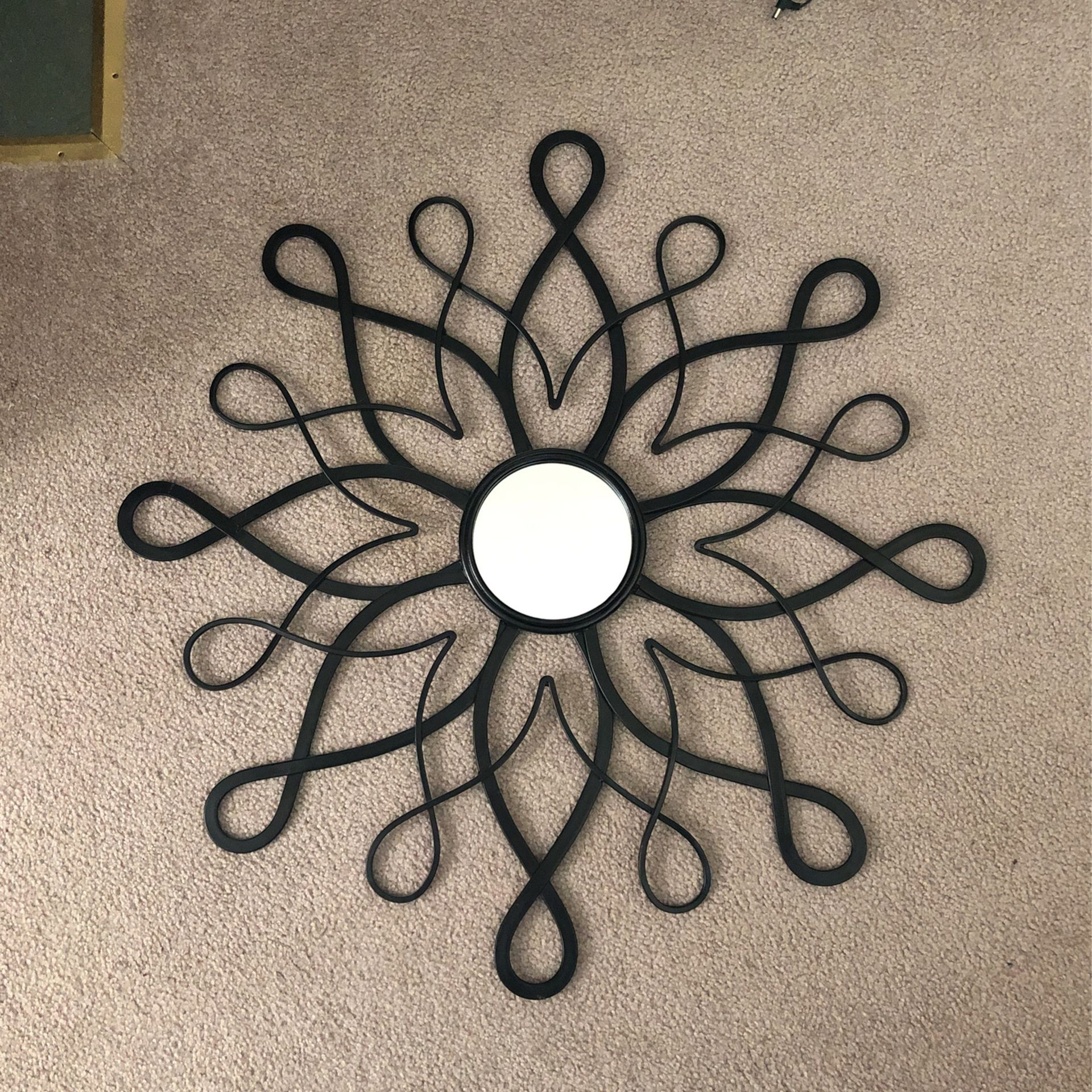 Black Metal Flower Motif Mirror