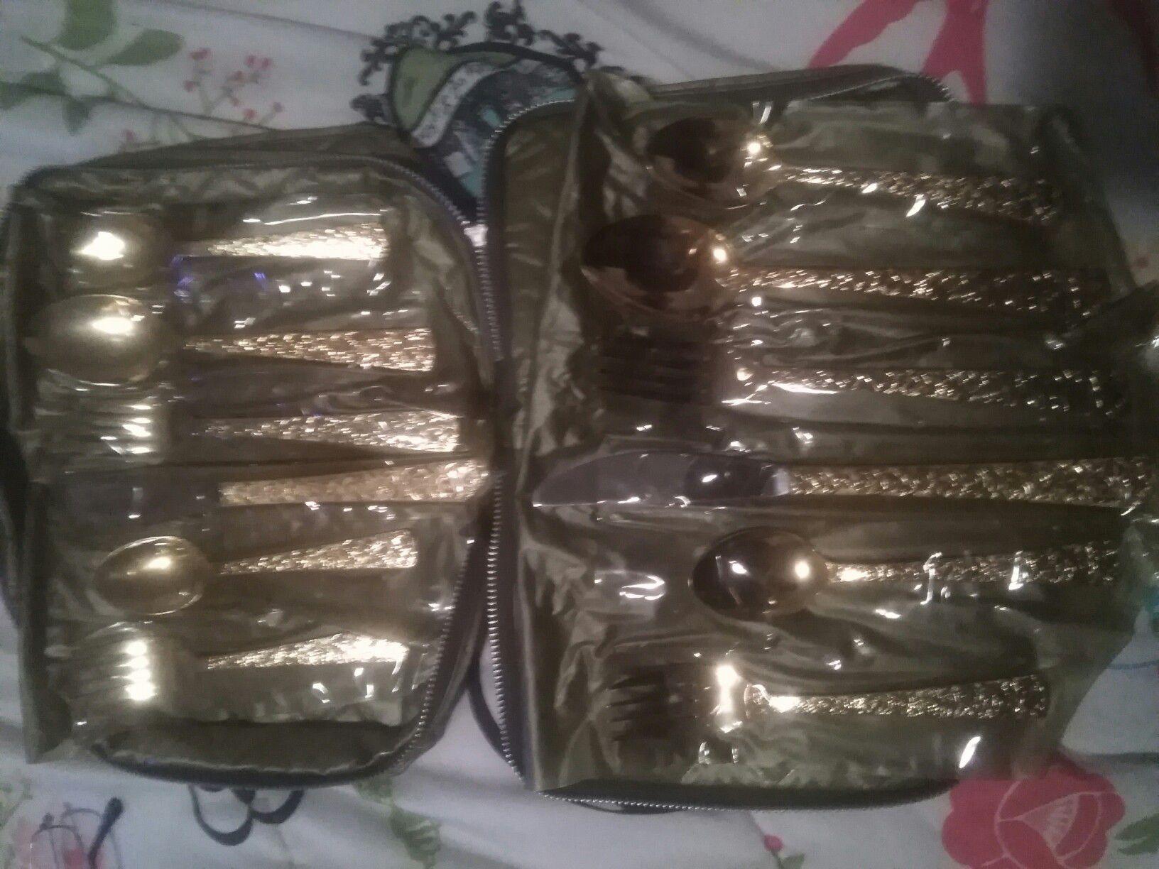 12pc Set Cellini Romanesque Gold ElectroPlate Silverware