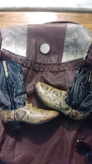 100% REAL Python skin boots, size (11-1/2) and matching leather Jacket. Will sell separately. Jacket is a size 42 for Sale in Pikesville, MD