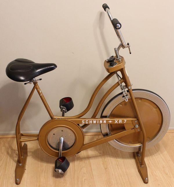 6d581fb22ff Vintage Schwinn XR7 Gold-Tone Stationary Exercise Bike Bicycle ... schwinn  xr7 exercise