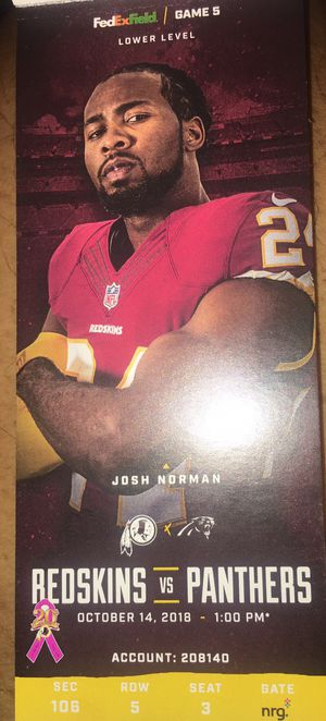Redskins vs Panthers for Sale in Washington, DC