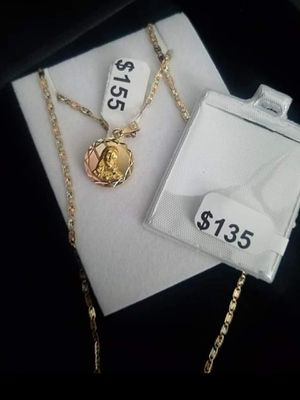 14k gold chain for women more double sight charms for Sale in Manassas, VA