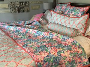 King size lily Pulitzer set w 2 euro shams, 2 shams and 2 Head rolls for Sale in Vienna, VA