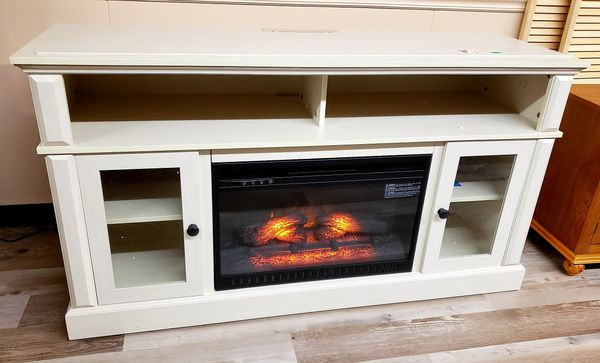 New Whalen Barston Antique White Media Fireplace Tv Stand For